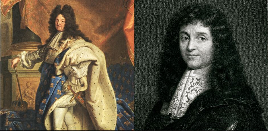 Louis XIV (left) and Colbert (right) dicide on an economic recovery plan for France.